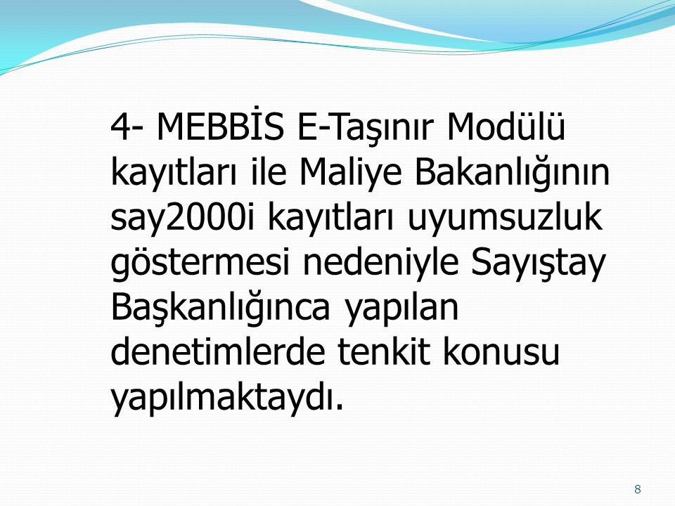 4- MEBBİS E-Taşınır Modülü kayıtları ile Maliye Bakanlığının say2000i kayıtları uyumsuzluk göstermesi nedeniyle Sayıştay Başkanlığınca yapılan denetimlerde tenkit konusu yapılmaktaydı.