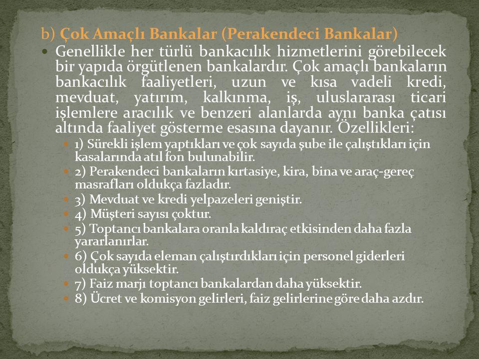 b) Çok Amaçlı Bankalar (Perakendeci Bankalar)