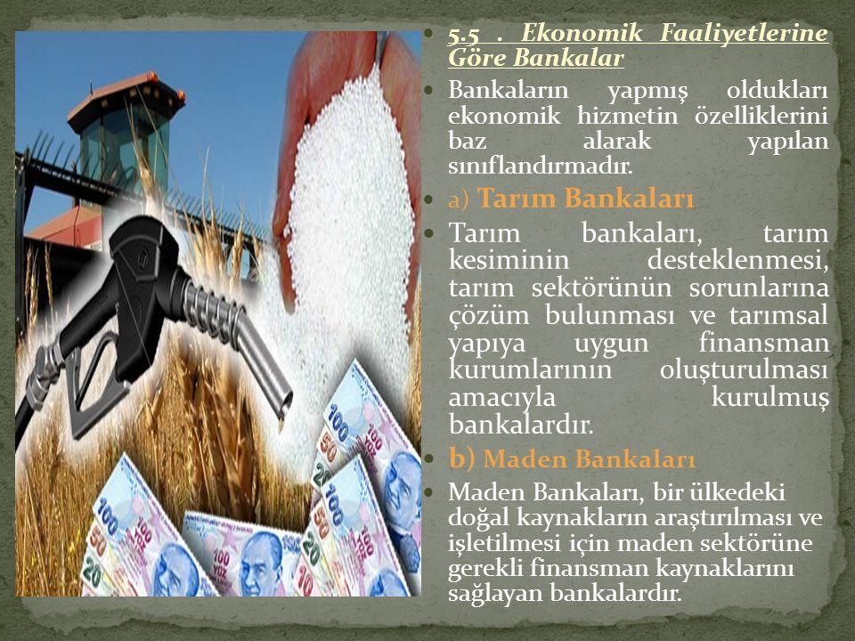 5.5 . Ekonomik Faaliyetlerine Göre Bankalar