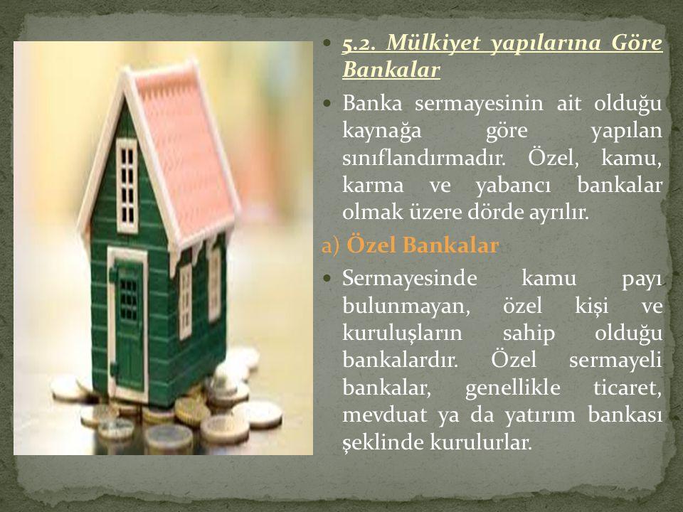 5.2. Mülkiyet yapılarına Göre Bankalar