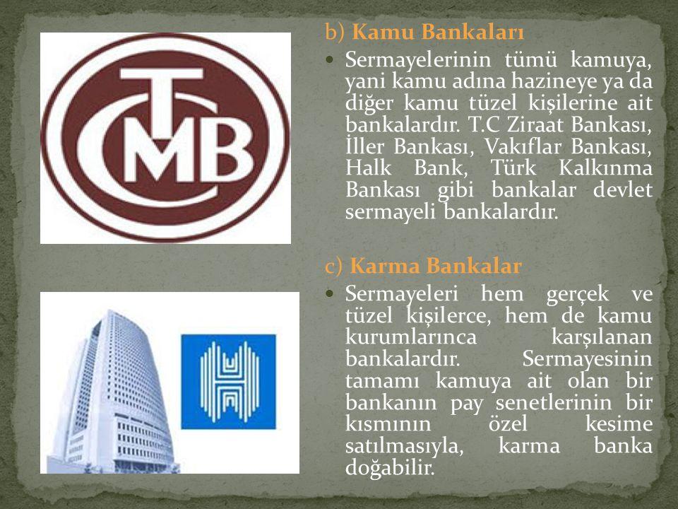 b) Kamu Bankaları