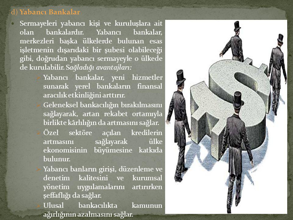 d) Yabancı Bankalar