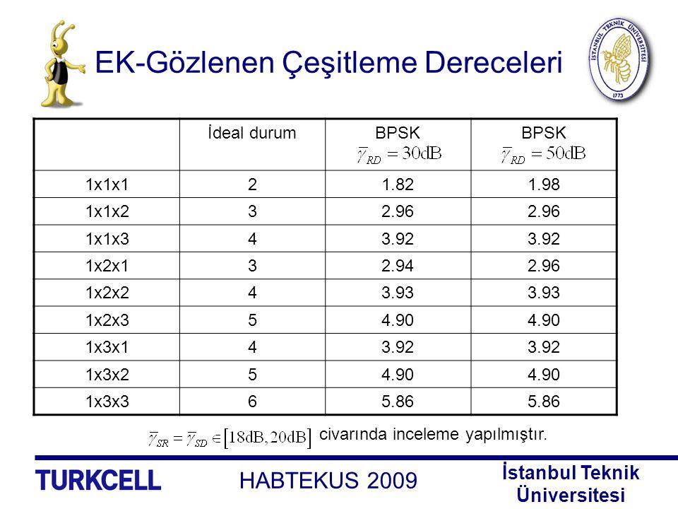 EK-Gözlenen Çeşitleme Dereceleri