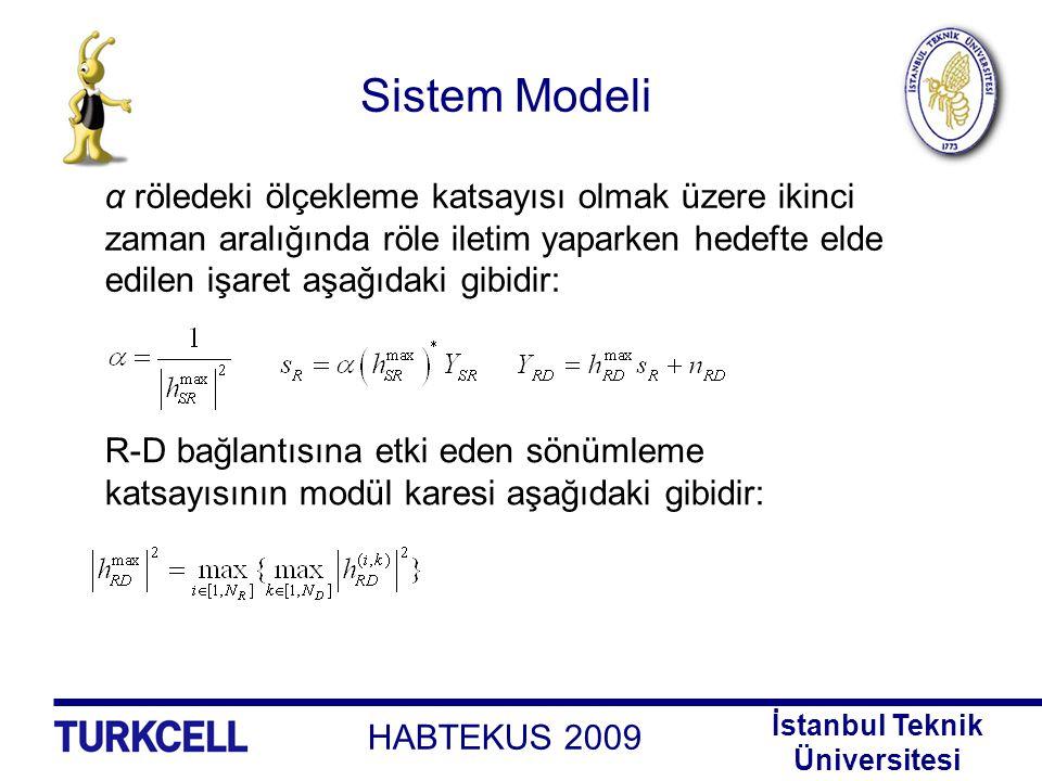Sistem Modeli α röledeki ölçekleme katsayısı olmak üzere ikinci zaman aralığında röle iletim yaparken hedefte elde edilen işaret aşağıdaki gibidir: