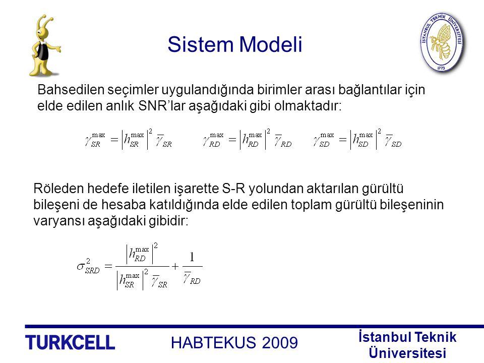 Sistem Modeli Bahsedilen seçimler uygulandığında birimler arası bağlantılar için. elde edilen anlık SNR'lar aşağıdaki gibi olmaktadır: