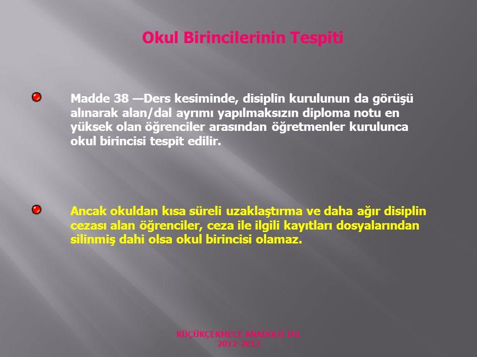 KÜÇÜKÇEKMECE ANADOLU İHL 2012-2013
