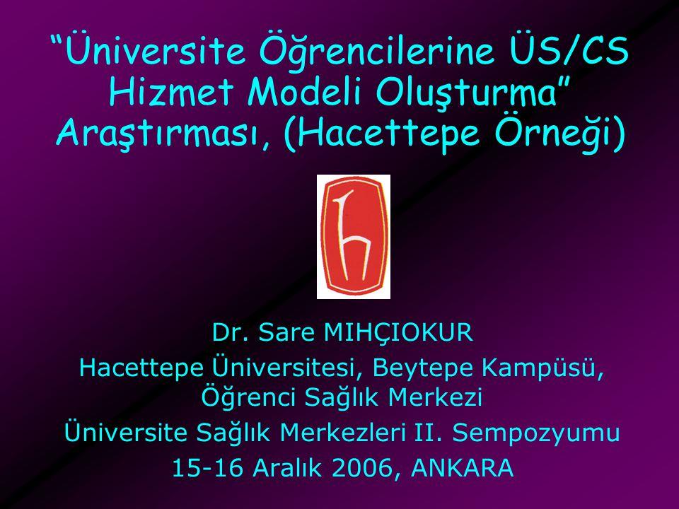 Üniversite Öğrencilerine ÜS/CS Hizmet Modeli Oluşturma Araştırması, (Hacettepe Örneği)