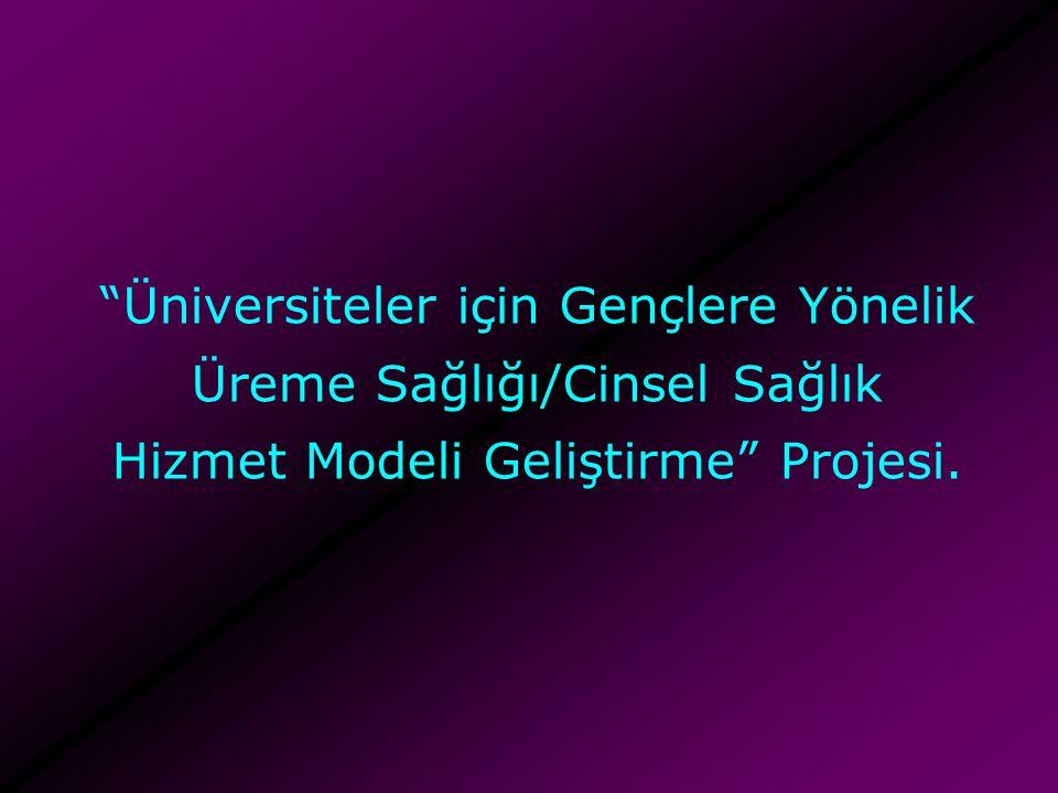Üniversiteler için Gençlere Yönelik Üreme Sağlığı/Cinsel Sağlık Hizmet Modeli Geliştirme Projesi.