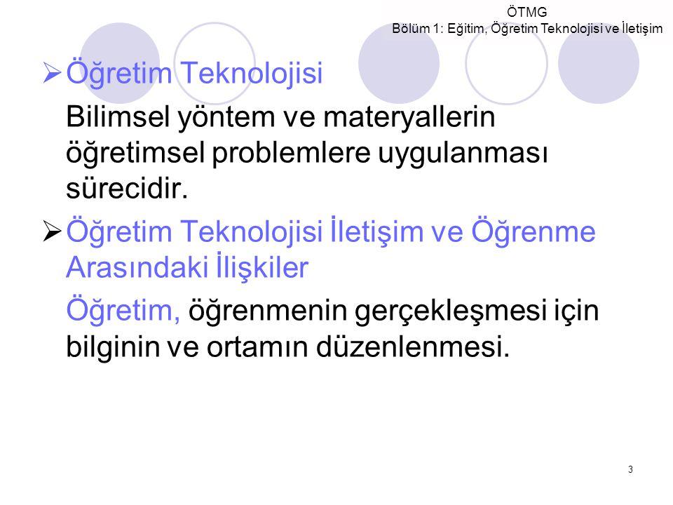 Öğretim Teknolojisi Bilimsel yöntem ve materyallerin öğretimsel problemlere uygulanması sürecidir.