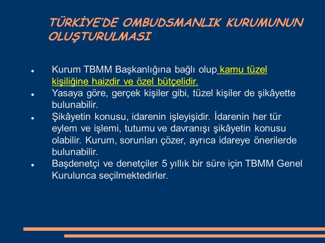 TÜRKİYE'DE OMBUDSMANLIK KURUMUNUN OLUŞTURULMASI