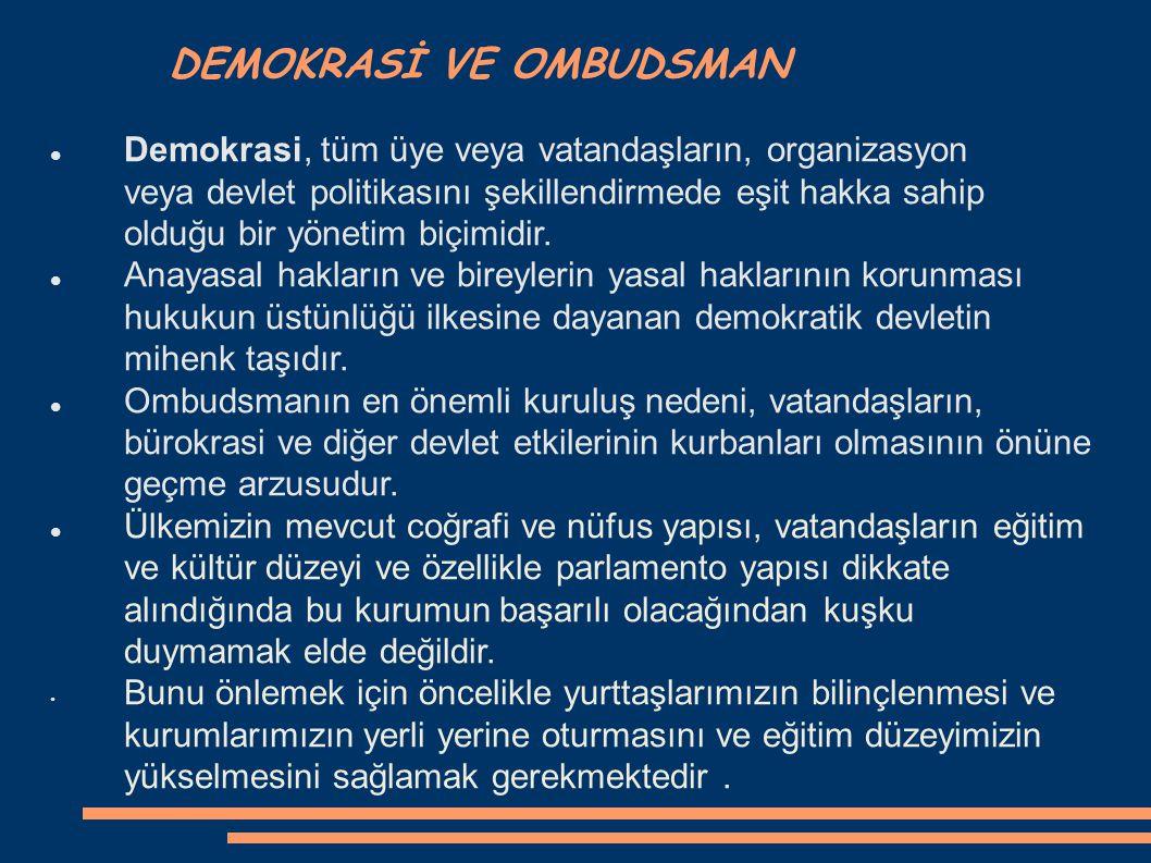 DEMOKRASİ VE OMBUDSMAN