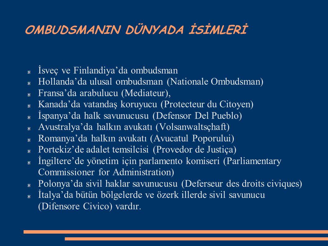 OMBUDSMANIN DÜNYADA İSİMLERİ