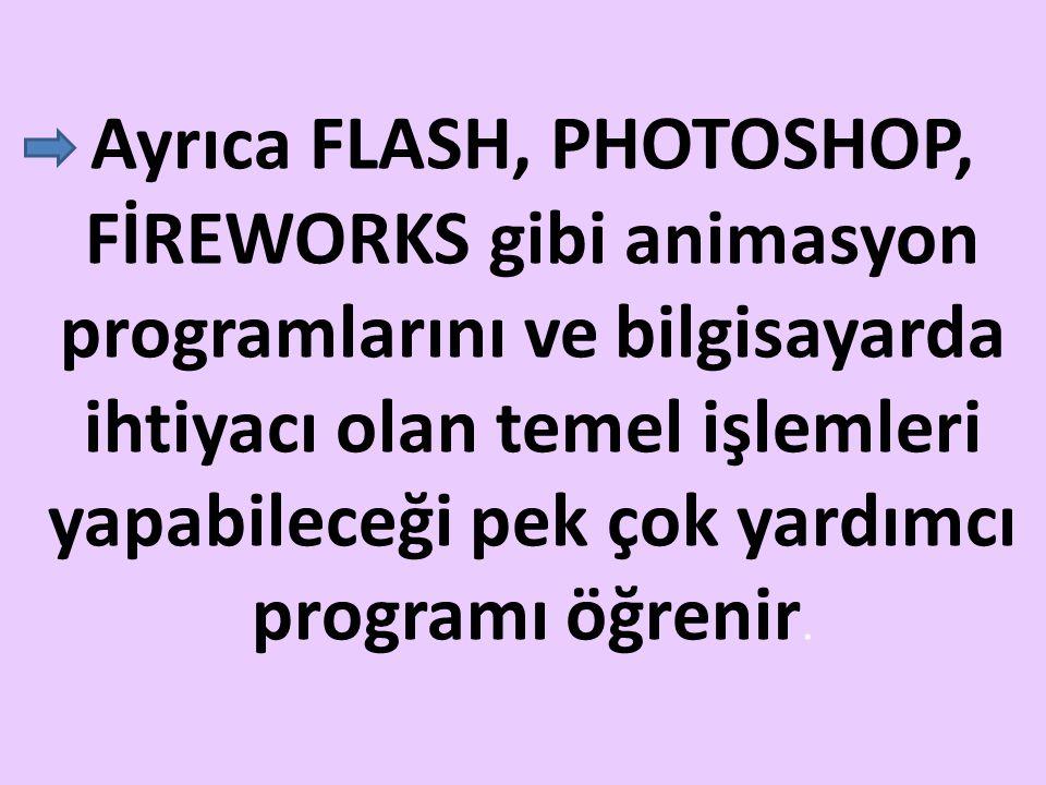 Ayrıca FLASH, PHOTOSHOP, FİREWORKS gibi animasyon programlarını ve bilgisayarda ihtiyacı olan temel işlemleri yapabileceği pek çok yardımcı programı öğrenir.