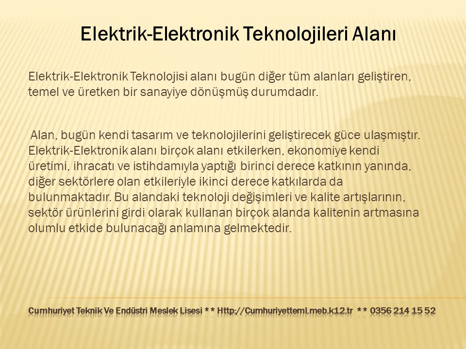Elektrik-Elektronik Teknolojileri Alanı