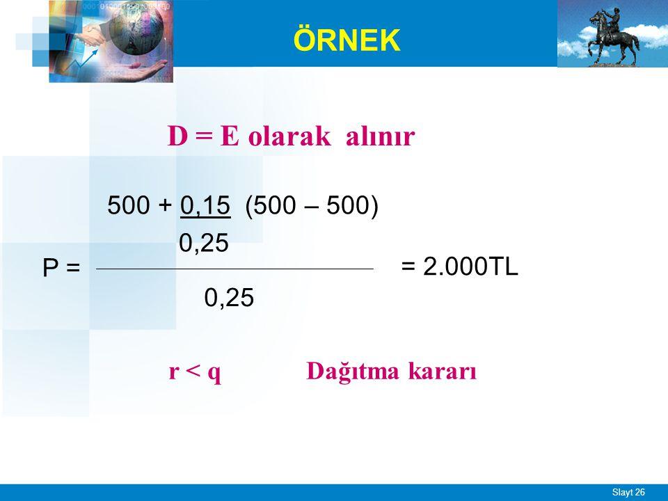 Eğer r, q'dan küçükse optimal kar payı ödeme oranı %100 olmalıdır.