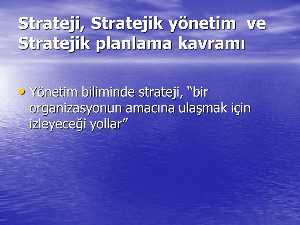 Strateji, Stratejik yönetim ve Stratejik planlama kavramı