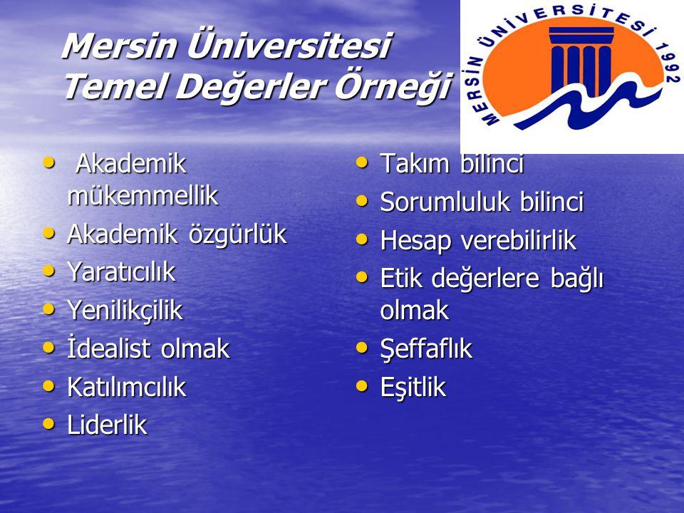 Mersin Üniversitesi Temel Değerler Örneği