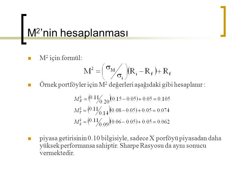 M2'nin hesaplanması M2 için formül: