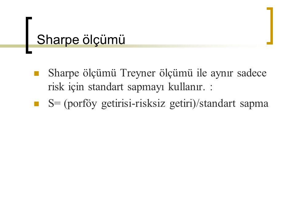 Sharpe ölçümü Sharpe ölçümü Treyner ölçümü ile aynır sadece risk için standart sapmayı kullanır. :