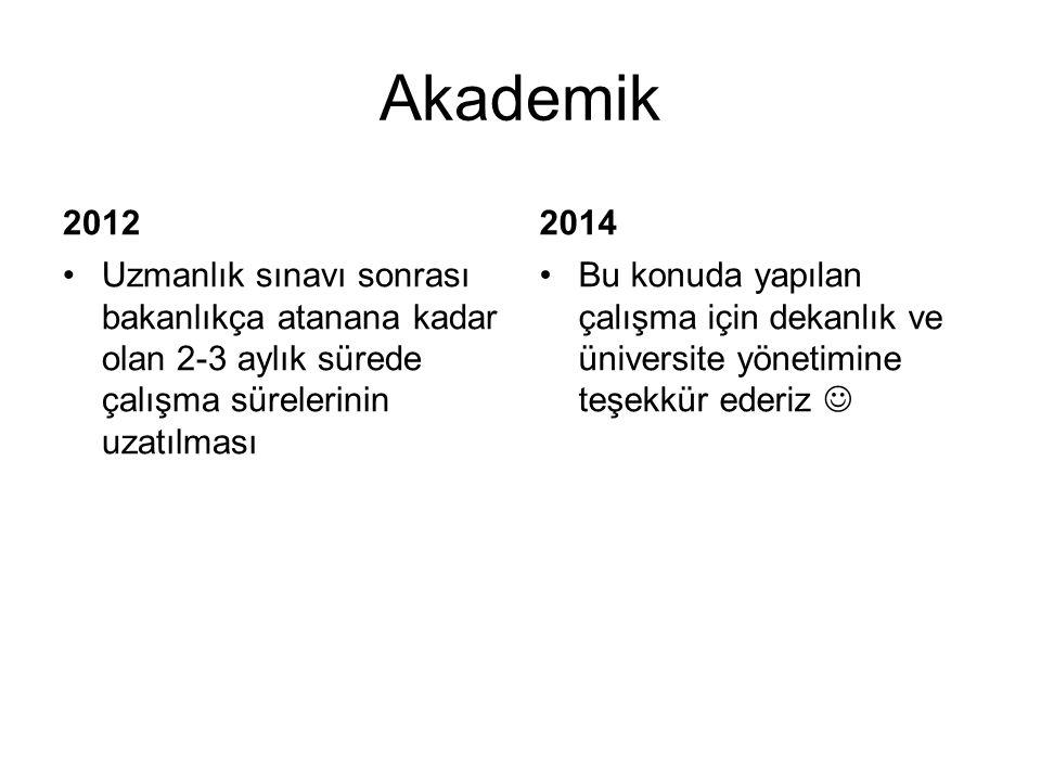 Akademik 2012. 2014. Uzmanlık sınavı sonrası bakanlıkça atanana kadar olan 2-3 aylık sürede çalışma sürelerinin uzatılması.