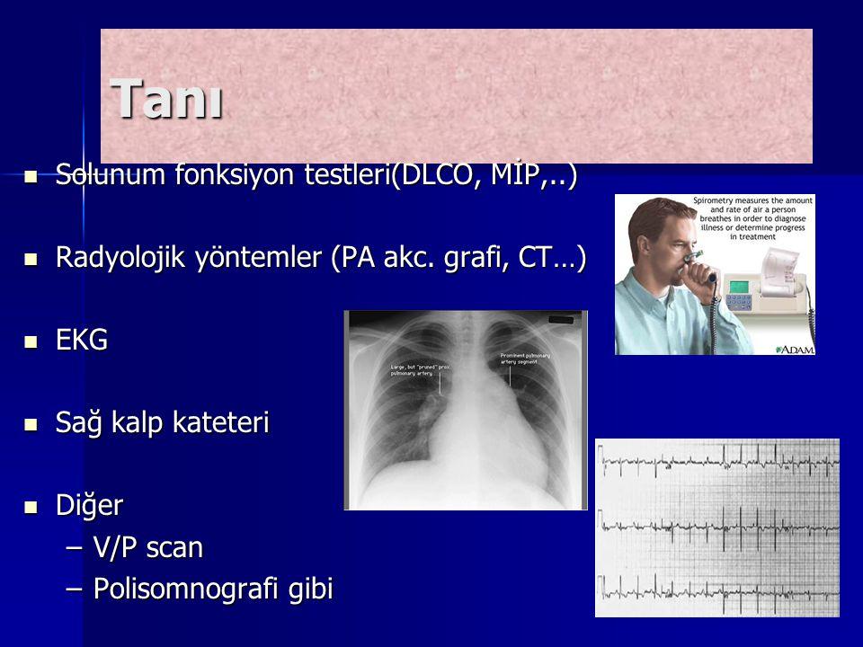 Tanı Solunum fonksiyon testleri(DLCO, MİP,..)