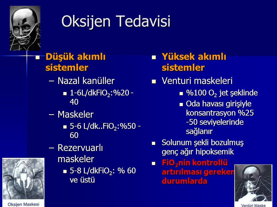 Oksijen Tedavisi Düşük akımlı sistemler Nazal kanüller Maskeler