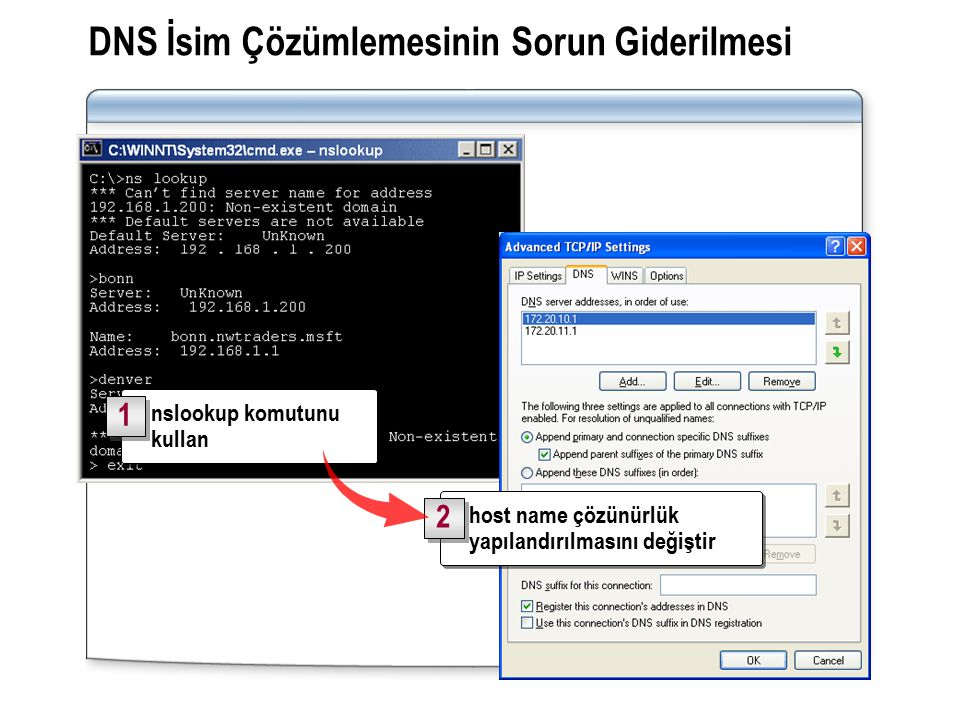 DNS İsim Çözümlemesinin Sorun Giderilmesi