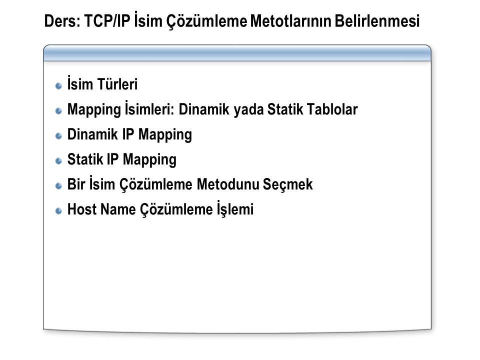 Ders: TCP/IP İsim Çözümleme Metotlarının Belirlenmesi