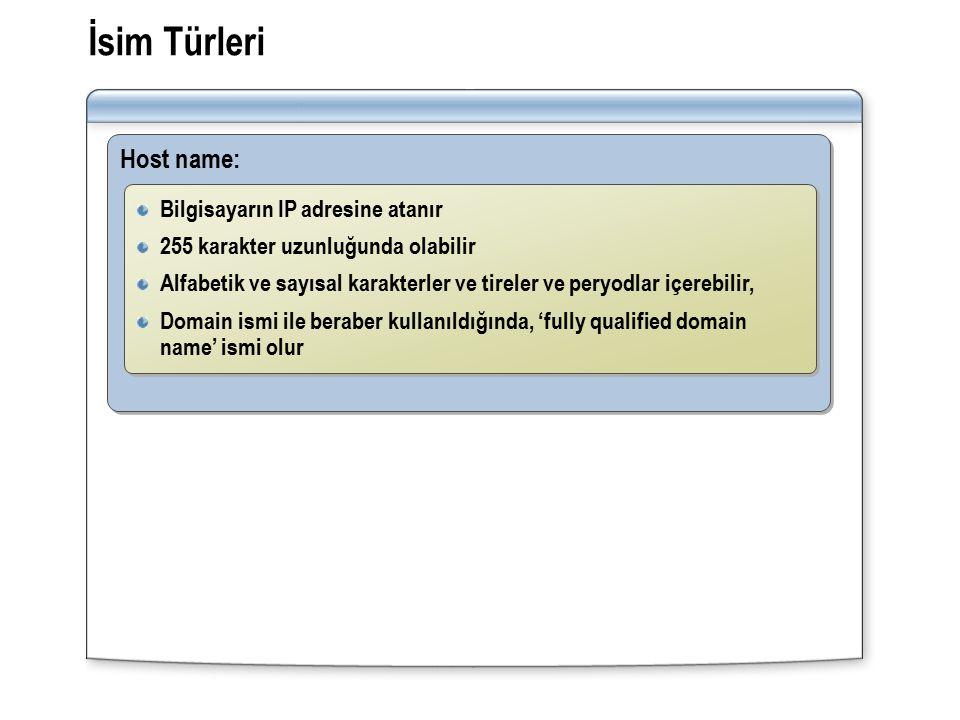 İsim Türleri Host name: Bilgisayarın IP adresine atanır