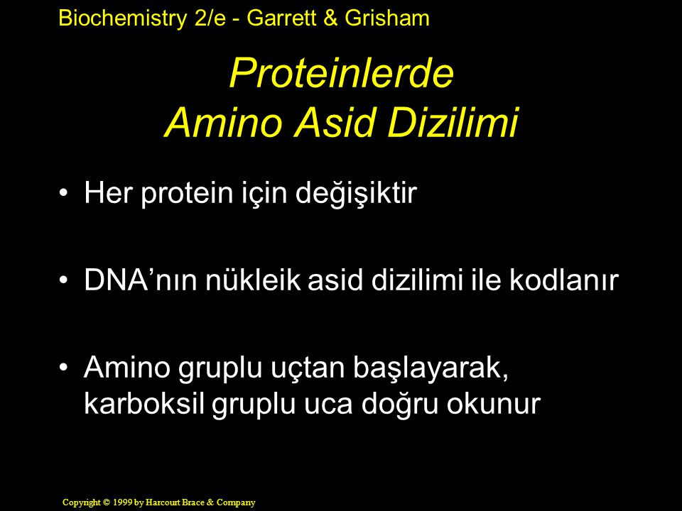 Proteinlerde Amino Asid Dizilimi