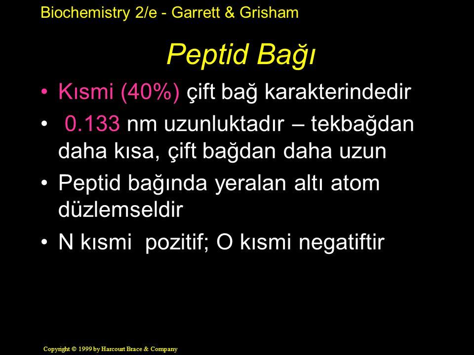 Peptid Bağı Kısmi (40%) çift bağ karakterindedir