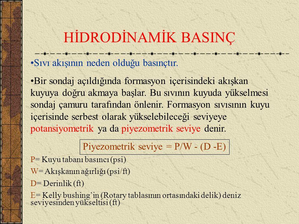 Piyezometrik seviye = P/W - (D -E)
