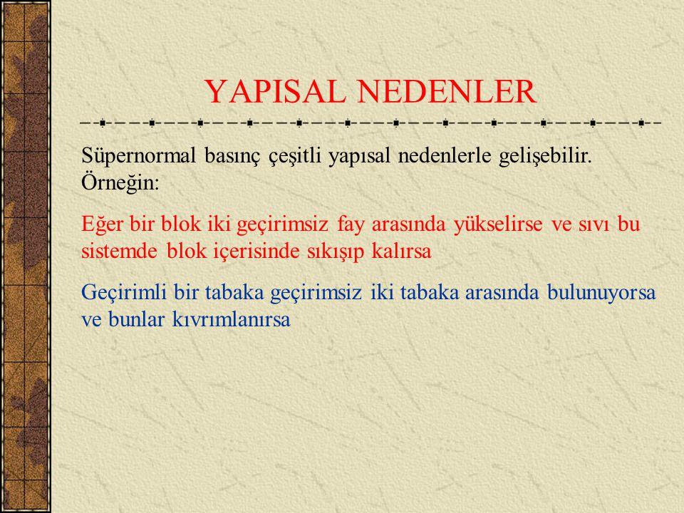 YAPISAL NEDENLER Süpernormal basınç çeşitli yapısal nedenlerle gelişebilir. Örneğin: