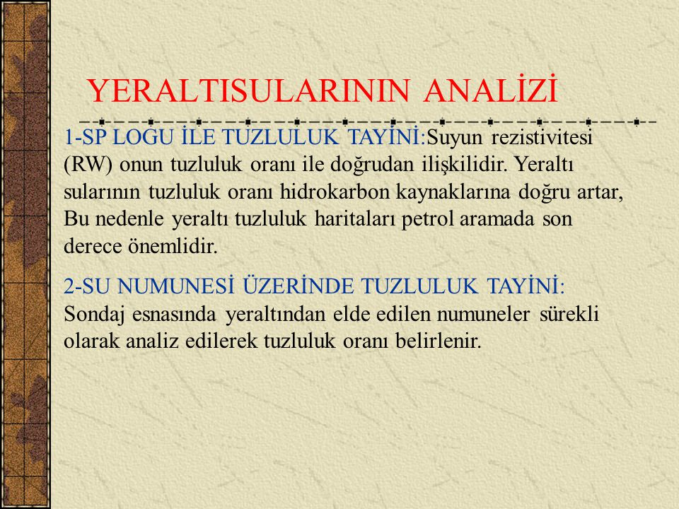 YERALTISULARININ ANALİZİ