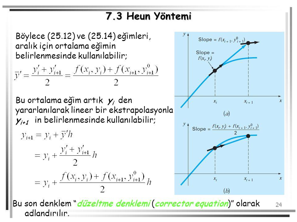 7.3 Heun Yöntemi Böylece (25.12) ve (25.14) eğimleri, aralık için ortalama eğimin belirlenmesinde kullanılabilir;