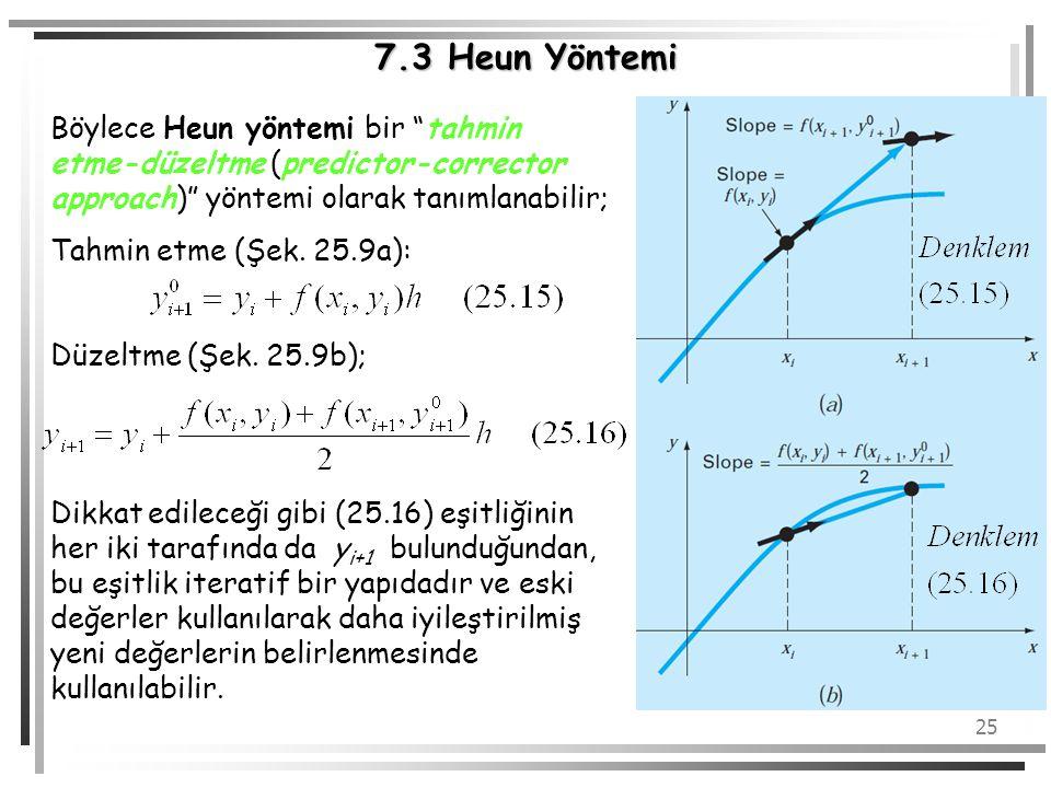 7.3 Heun Yöntemi Böylece Heun yöntemi bir tahmin etme-düzeltme (predictor-corrector approach) yöntemi olarak tanımlanabilir;