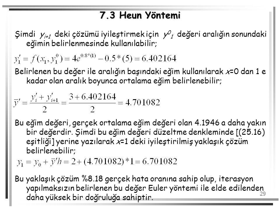 7.3 Heun Yöntemi Şimdi yi+1 deki çözümü iyileştirmek için y01 değeri aralığın sonundaki eğimin belirlenmesinde kullanılabilir;