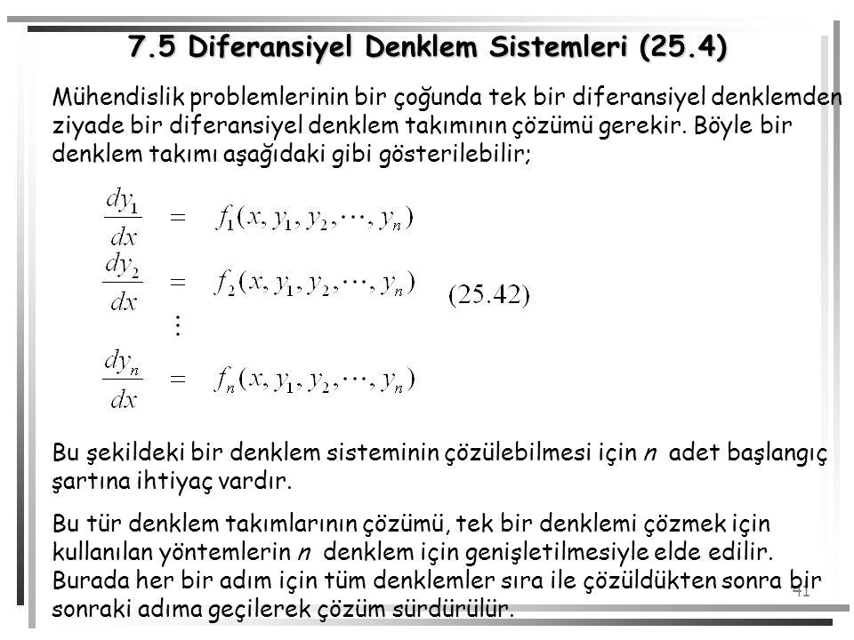 7.5 Diferansiyel Denklem Sistemleri (25.4)