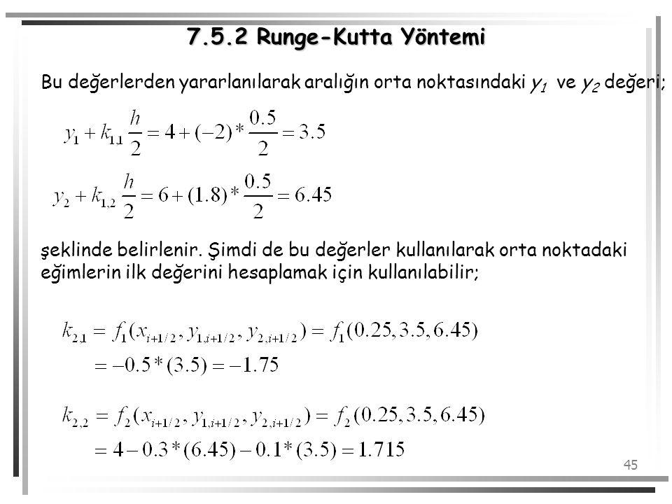 7.5.2 Runge-Kutta Yöntemi Bu değerlerden yararlanılarak aralığın orta noktasındaki y1 ve y2 değeri;