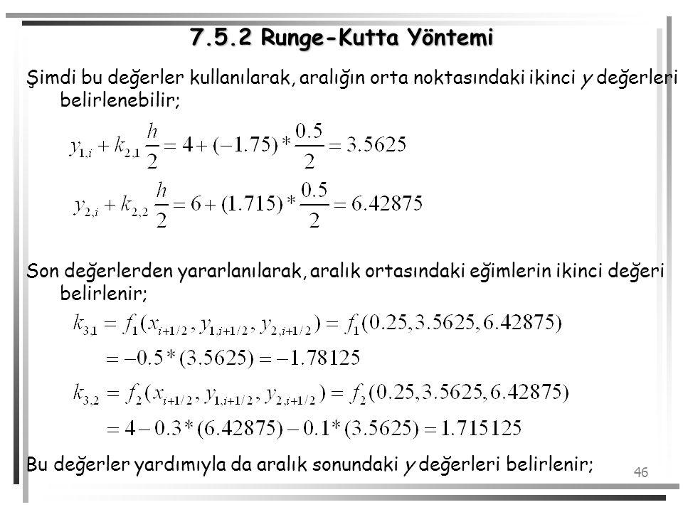 7.5.2 Runge-Kutta Yöntemi Şimdi bu değerler kullanılarak, aralığın orta noktasındaki ikinci y değerleri belirlenebilir;
