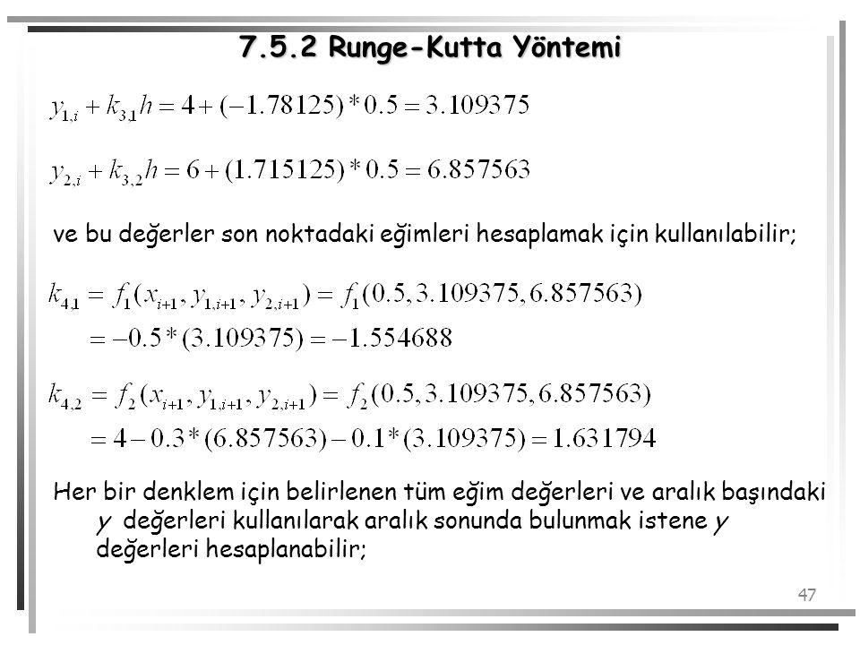 7.5.2 Runge-Kutta Yöntemi ve bu değerler son noktadaki eğimleri hesaplamak için kullanılabilir;