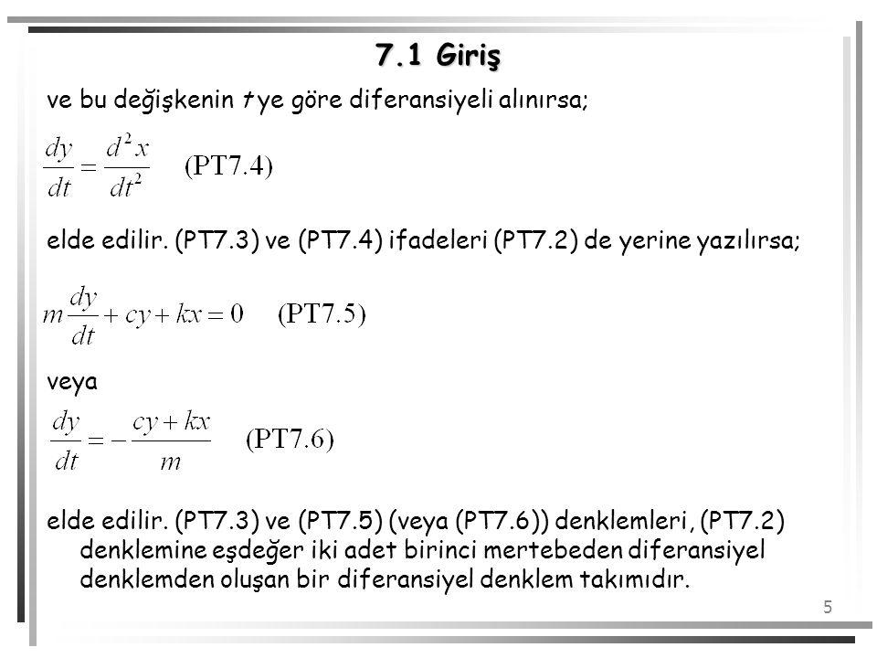 7.1 Giriş ve bu değişkenin t ye göre diferansiyeli alınırsa;