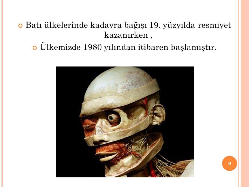 Batı ülkelerinde kadavra bağışı 19. yüzyılda resmiyet kazanırken ,