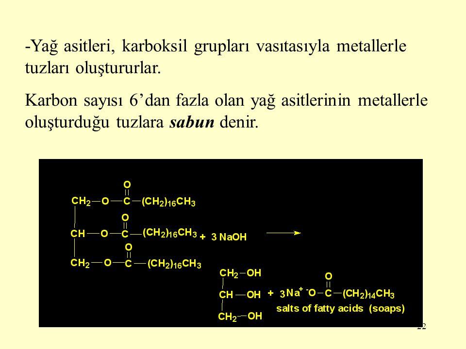 -Yağ asitleri, karboksil grupları vasıtasıyla metallerle tuzları oluştururlar.