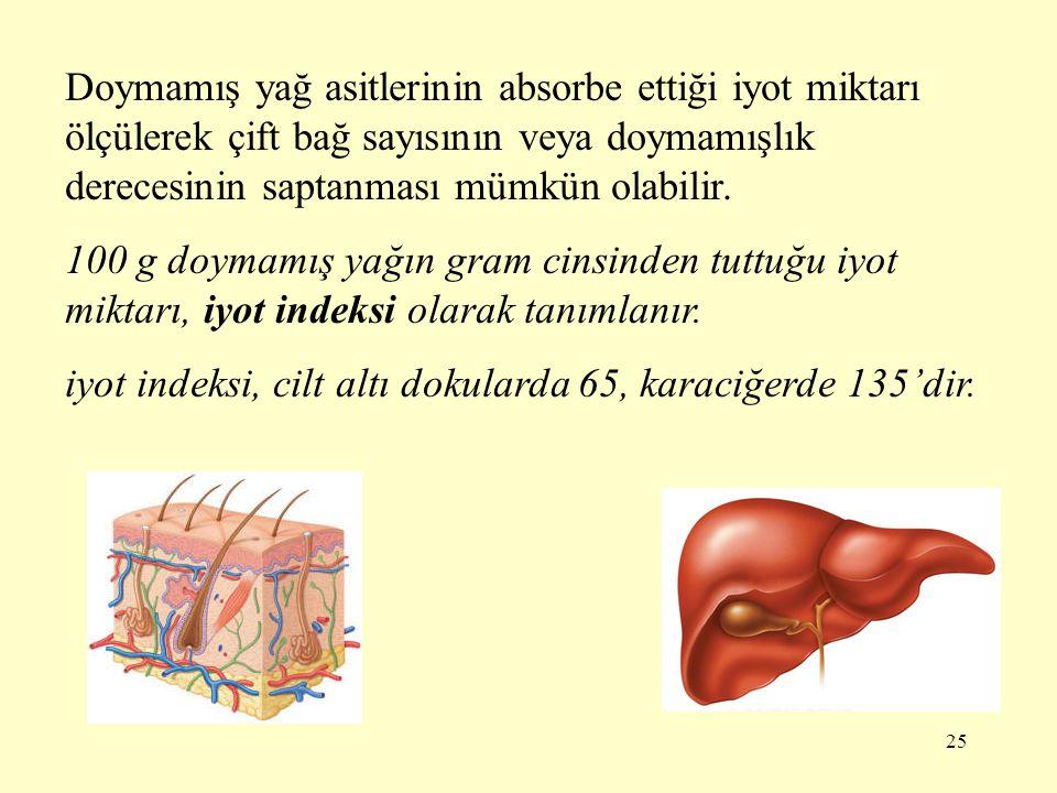 Doymamış yağ asitlerinin absorbe ettiği iyot miktarı ölçülerek çift bağ sayısının veya doymamışlık derecesinin saptanması mümkün olabilir.