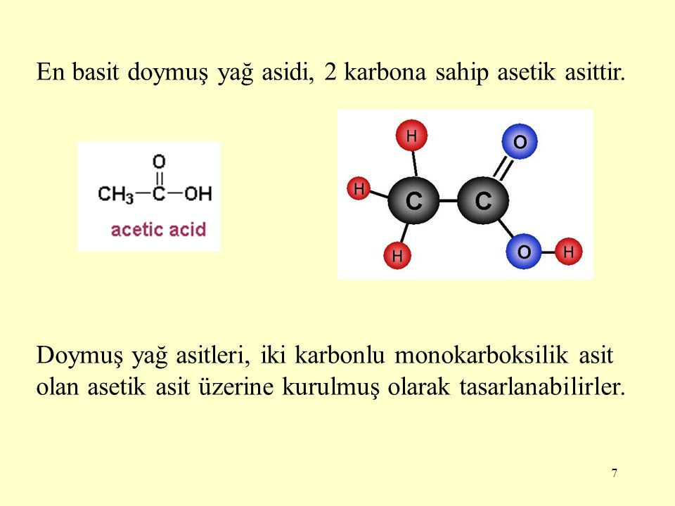 En basit doymuş yağ asidi, 2 karbona sahip asetik asittir.