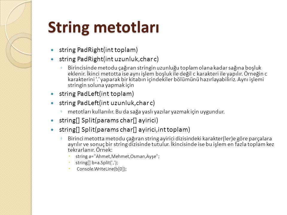 String metotları string PadRight(int toplam)
