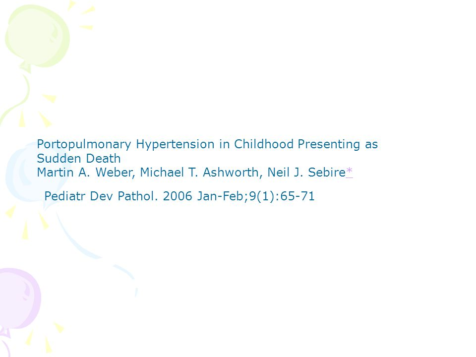 Portopulmonary Hypertension in Childhood Presenting as Sudden Death