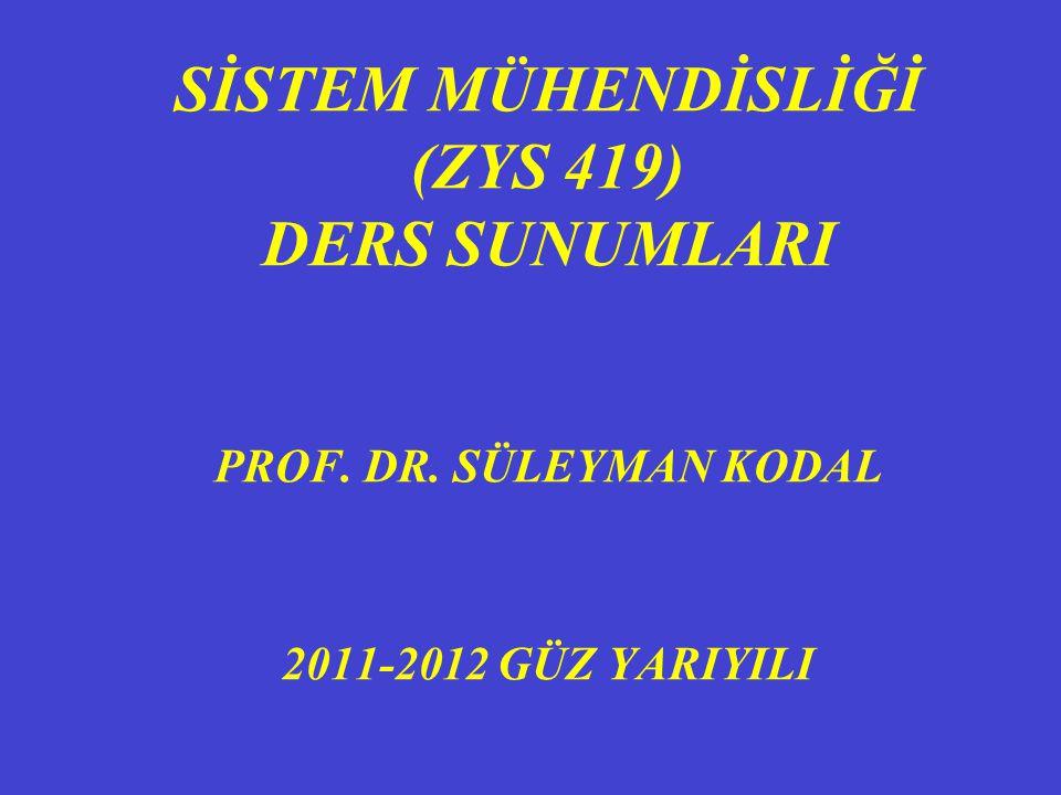 SİSTEM MÜHENDİSLİĞİ (ZYS 419) DERS SUNUMLARI PROF. DR