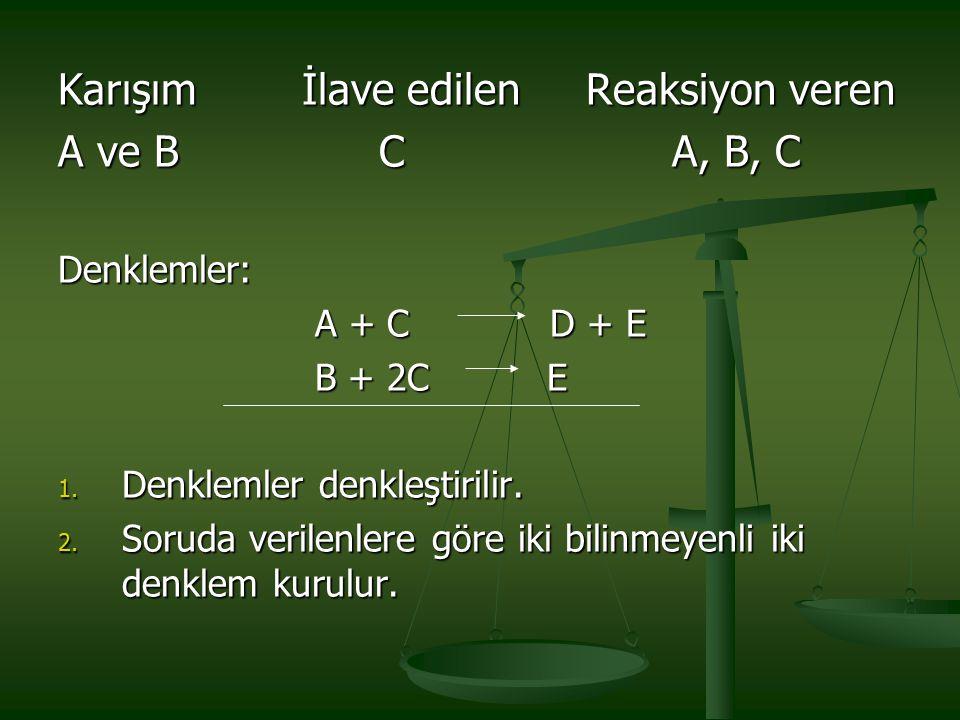 Karışım İlave edilen Reaksiyon veren A ve B C A, B, C